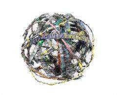 Cluster #3, mixed media aluminum sculpture, multicolored sphere