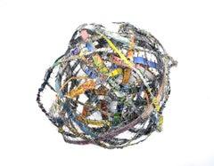 Cluster #4, mixed media aluminum sculpture, multicolored sphere