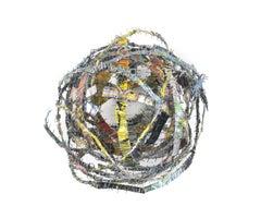 Cluster #6, mixed media aluminum sculpture, multicolored sphere