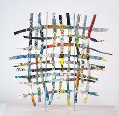 Renewal #1, mixed media aluminum sculpture, multicolored grid, 16 x 16 inches