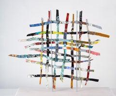 Renewal #2, mixed media aluminum sculpture, multicolored grid, 16 x 16 inches