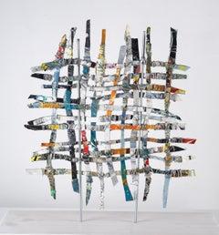 Renewal #3, mixed media aluminum sculpture, multicolored grid, 16 x 16 inches