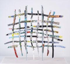 Renewal #4, mixed media aluminum sculpture, multicolored grid, 16 x 16 inches