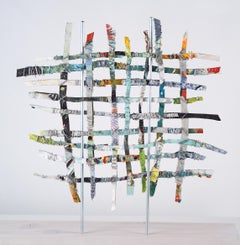 Renewal #5, mixed media aluminum sculpture, multicolored grid, 16 x 16 inches