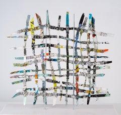 Renewal #6, mixed media aluminum sculpture, multicolored grid, 16 x 16 inches