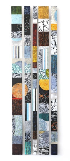 Strata 20 Set C, multicolored mixed media sculptural piece on aluminum