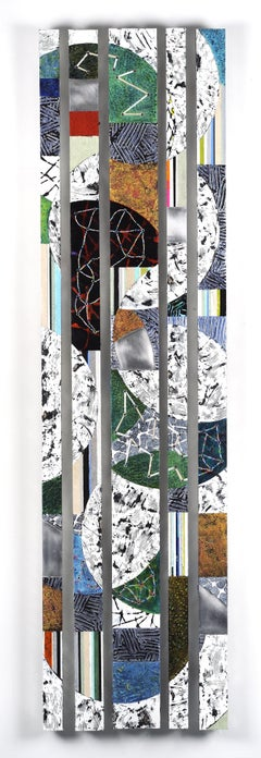 Strata 21 Set B, multicolored mixed media sculptural piece on aluminum