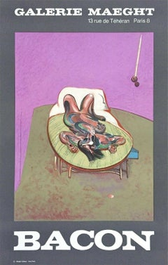 Personnage Couche, Vintage 1966 Event Lithograph, After Francis Bacon