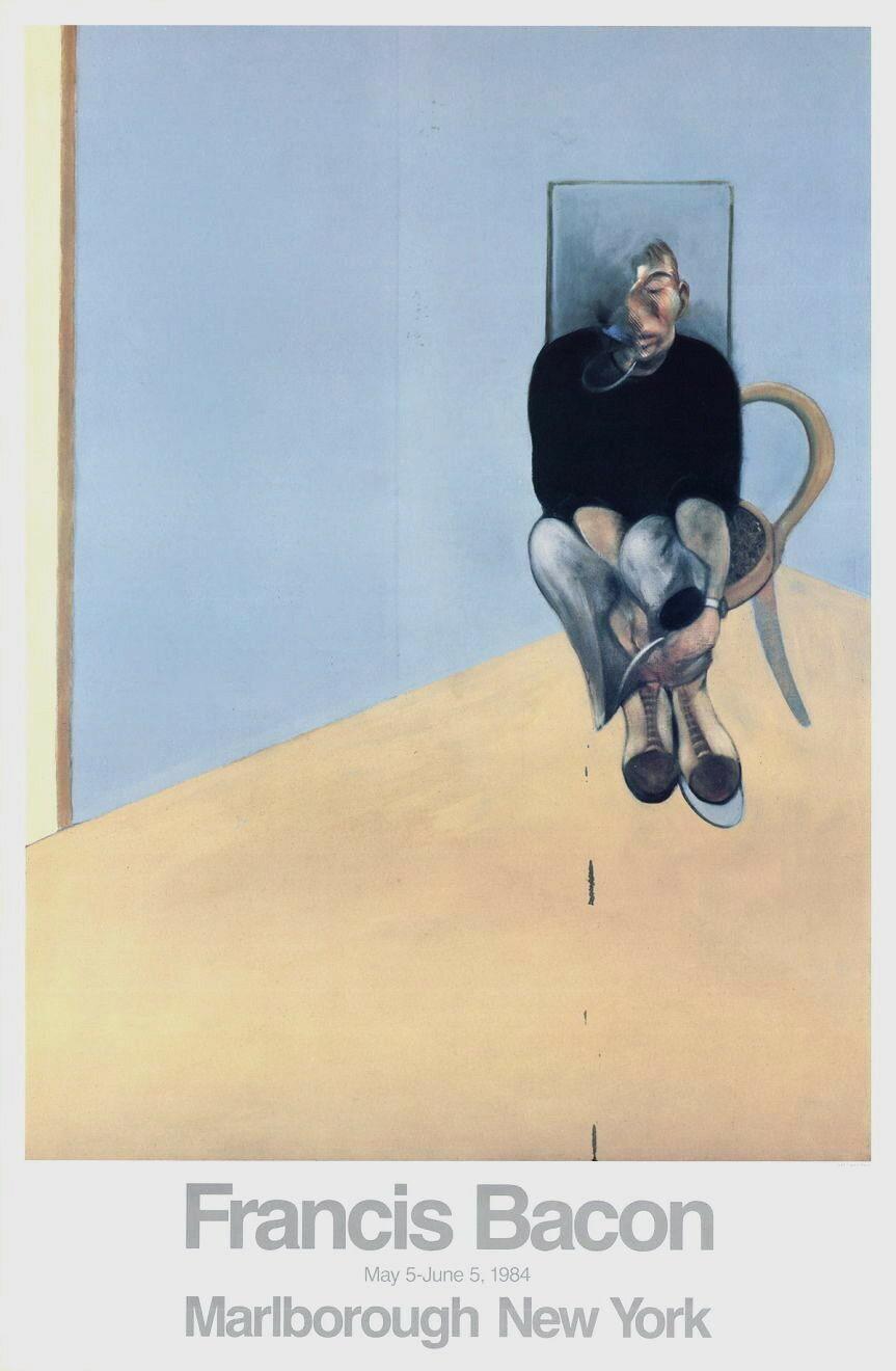 Seated Man 1984 Original Marlborough Gallery Exhibition Lithograph