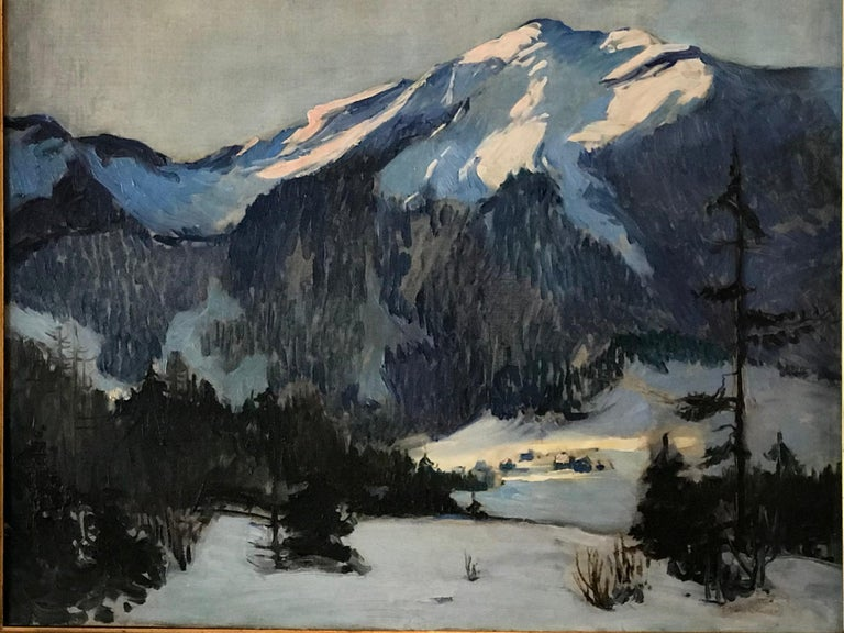 Florence Ballin Cramer (1884-1962) Woodstock, NY after 1922 Here, an oil on canvas of a winter scene with snow covered mountains, evergreen trees and a tiny settlement below the mountains. Monumental. Painting signed lower right and dated.