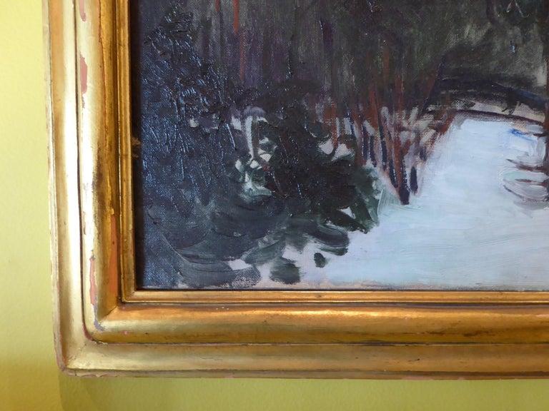 American Florence Ballin Cramer Winter Scene w Mountains O/C 1915 Newcomb Macklin Frame For Sale