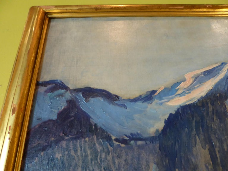 Gilt Florence Ballin Cramer Winter Scene w Mountains O/C 1915 Newcomb Macklin Frame For Sale