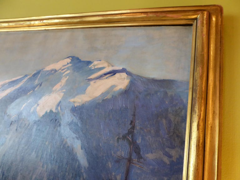 Florence Ballin Cramer Winter Scene w Mountains O/C 1915 Newcomb Macklin Frame In Good Condition For Sale In Miami, FL