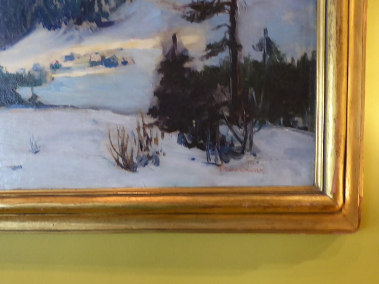 Early 20th Century Florence Ballin Cramer Winter Scene w Mountains O/C 1915 Newcomb Macklin Frame For Sale