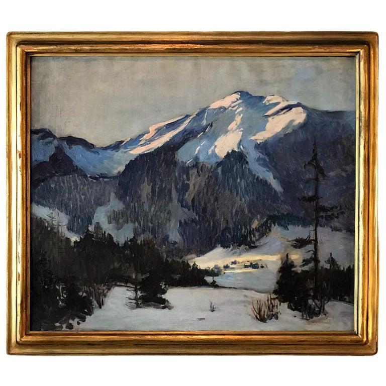 Florence Ballin Cramer Winter Scene w Mountains O/C 1915 Newcomb Macklin Frame For Sale