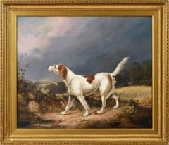 Early 19th Century sporting dog oil painting of a setter in a landscape