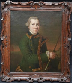 Portrait of a Huntsman - British 18thC art Old Master male portrait oil painting