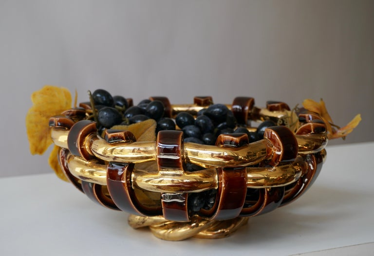 Francis Cova Gilt Gold Brown Ceramic Bowl, circa 1970s In Good Condition For Sale In Antwerp, BE