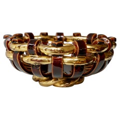 Francis Cova Gilt Gold Brown Ceramic Bowl, circa 1970s