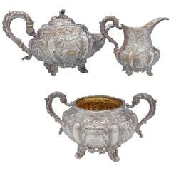 Francis David Dexter English Victorian Sterling Silver Tea Set 3-Piece