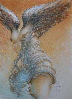 Lover with Samothrace - Original handsigned lithograph - 250 ex