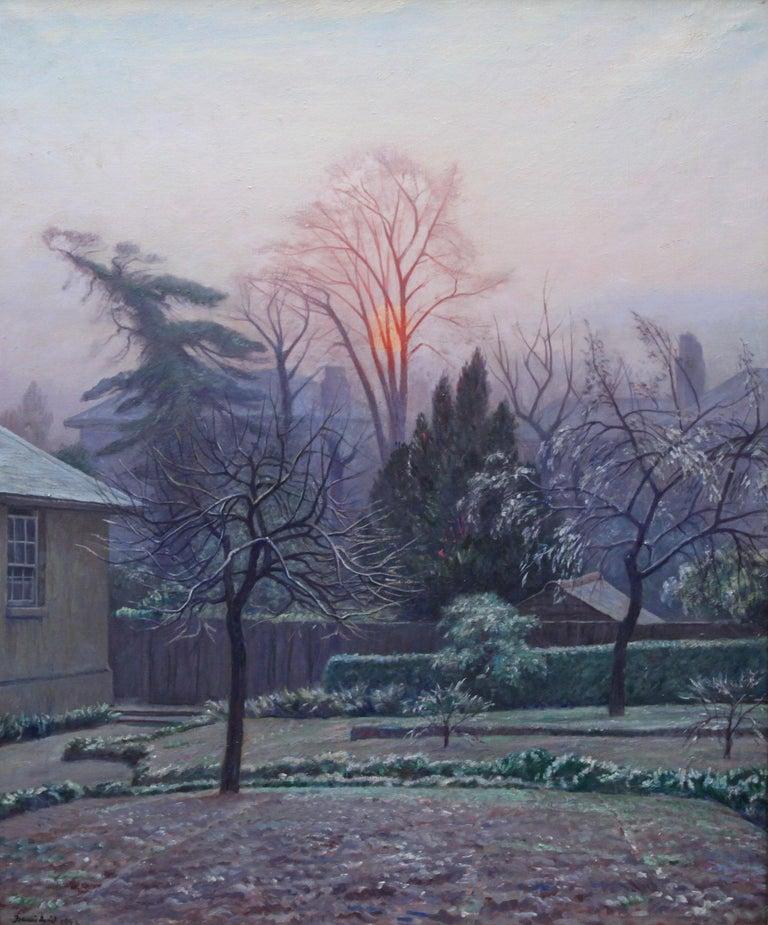 Rising Sun Blackheath London - British 40's art garden landscape oil painting  - Painting by Francis Dodd
