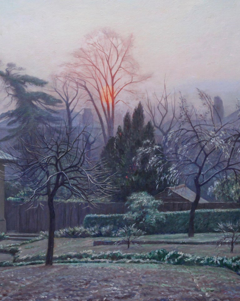 A beautiful colourful oil on canvas painting by Francis Dodd RA whIch depicts the Rising Sun from his house in Blackheath London. It was painting in 1942 and was an exhibited painting. The rising sun will be melting the cold fost of the picture -