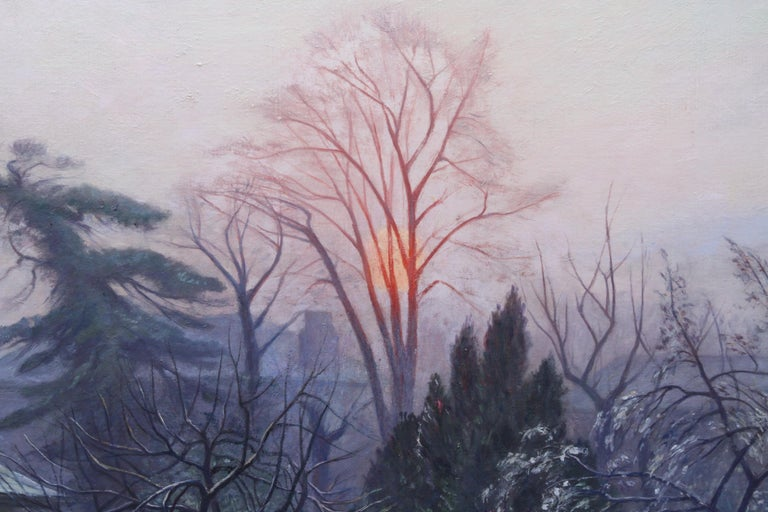 Rising Sun Blackheath London - British 40's art garden landscape oil painting  For Sale 1