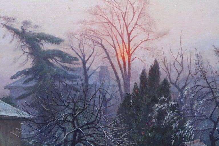 Rising Sun Blackheath London - British 40's art garden landscape oil painting  For Sale 2