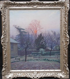 Rising Sun Blackheath London - British 40's art garden landscape oil painting