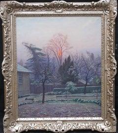 Rising Sun London Blackheath - British art 40's oil painting winter garden dawn