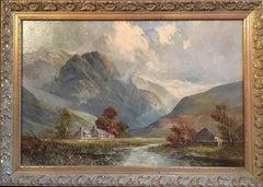 Antique Large Landscape Clouds Breaking, Scotland, Original Frame, Signed