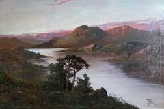 Antique Large Landscape of Scotland, Sunset, Signed