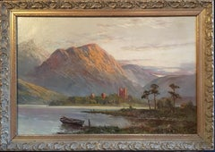 Antique Large Sunset Landscape of Scotland, Original Frame,Signed
