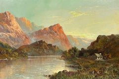 Antique Scottish Highland Loch Etive at Sunset with Cottage Argyll & Bute