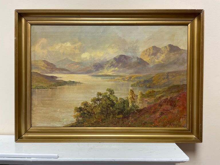 Antique Scottish Highland Loch Katrine in the Trossachs Summer Landscape - Painting by Francis E. Jamieson