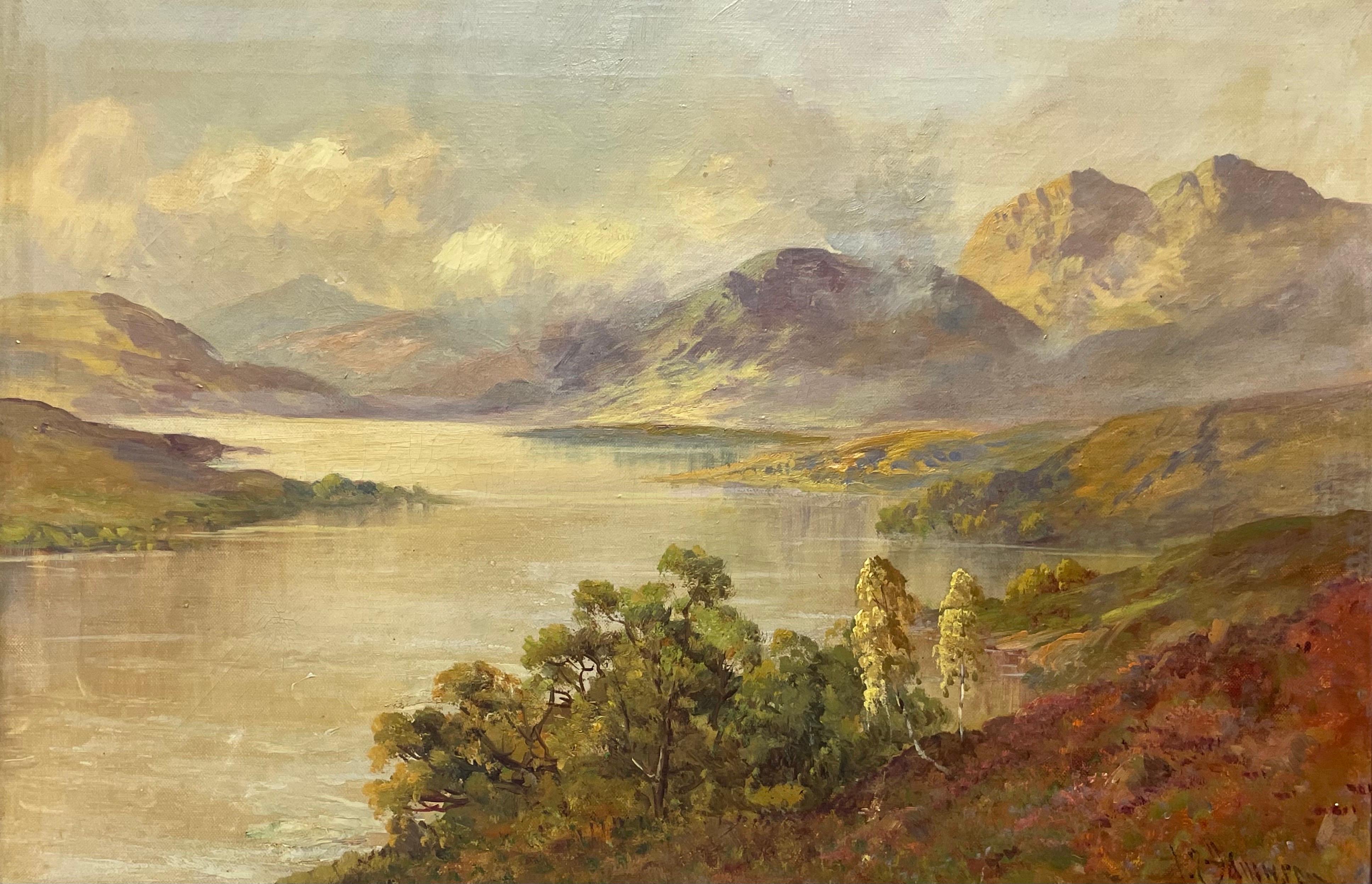 Antique Scottish Highland Loch Katrine in the Trossachs Summer Landscape