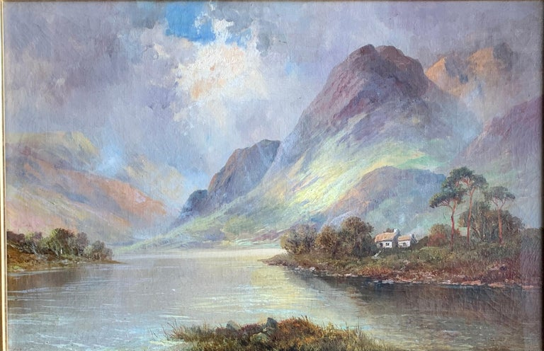 Antique Scottish Highland Loch landscape, with sunlit streaming onto the water - Painting by Francis E. Jamieson