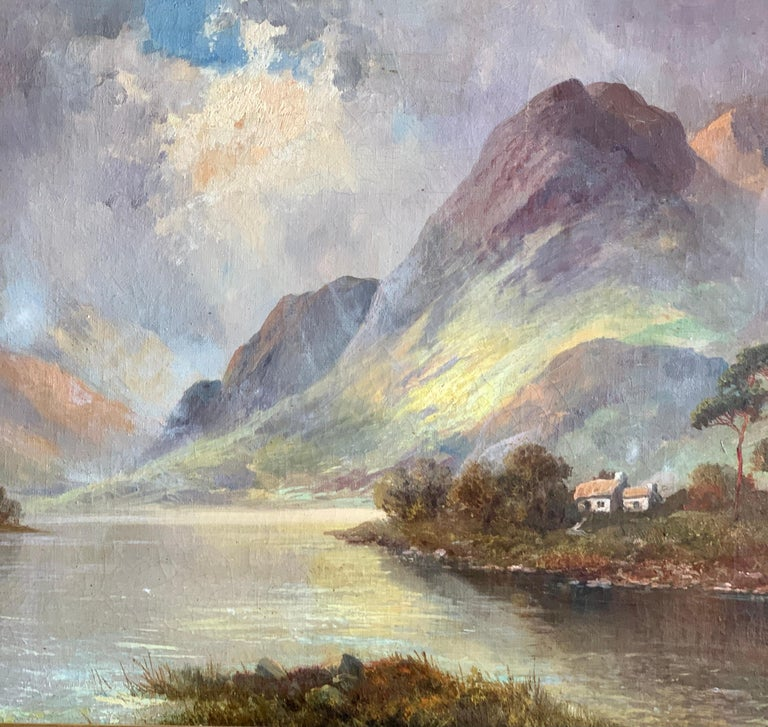 Antique Scottish Highland Loch landscape, with sunlit streaming onto the water - Victorian Painting by Francis E. Jamieson