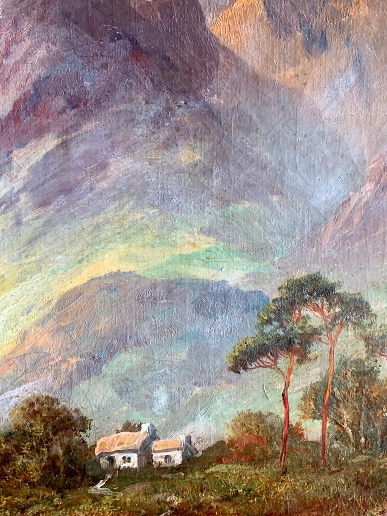 Antique Scottish Highland Loch landscape, with sunlit streaming onto the water - Gray Figurative Painting by Francis E. Jamieson