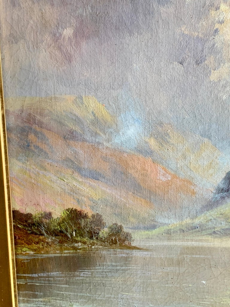 Antique Scottish Highland Loch landscape, with sunlit streaming onto the water For Sale 1