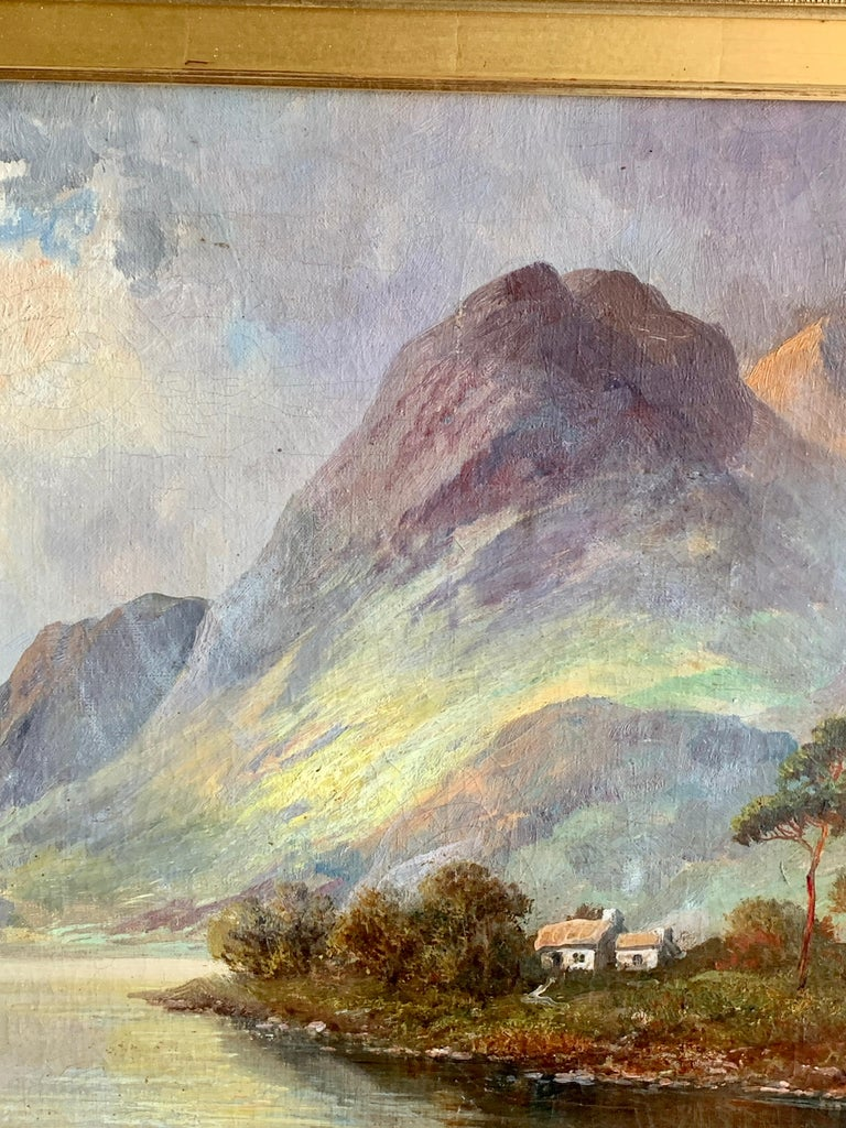 Antique Scottish Highland Loch landscape, with sunlit streaming onto the water For Sale 2