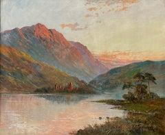 Antique Scottish Highland Loch Scene at Sunset Ancient Castle Ruins Signed Oil
