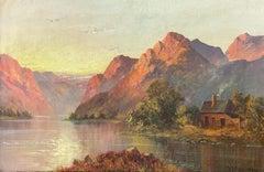 Antique Scottish Highland Loch Scene at Sunset Rugged Mountains & Loch Cottage
