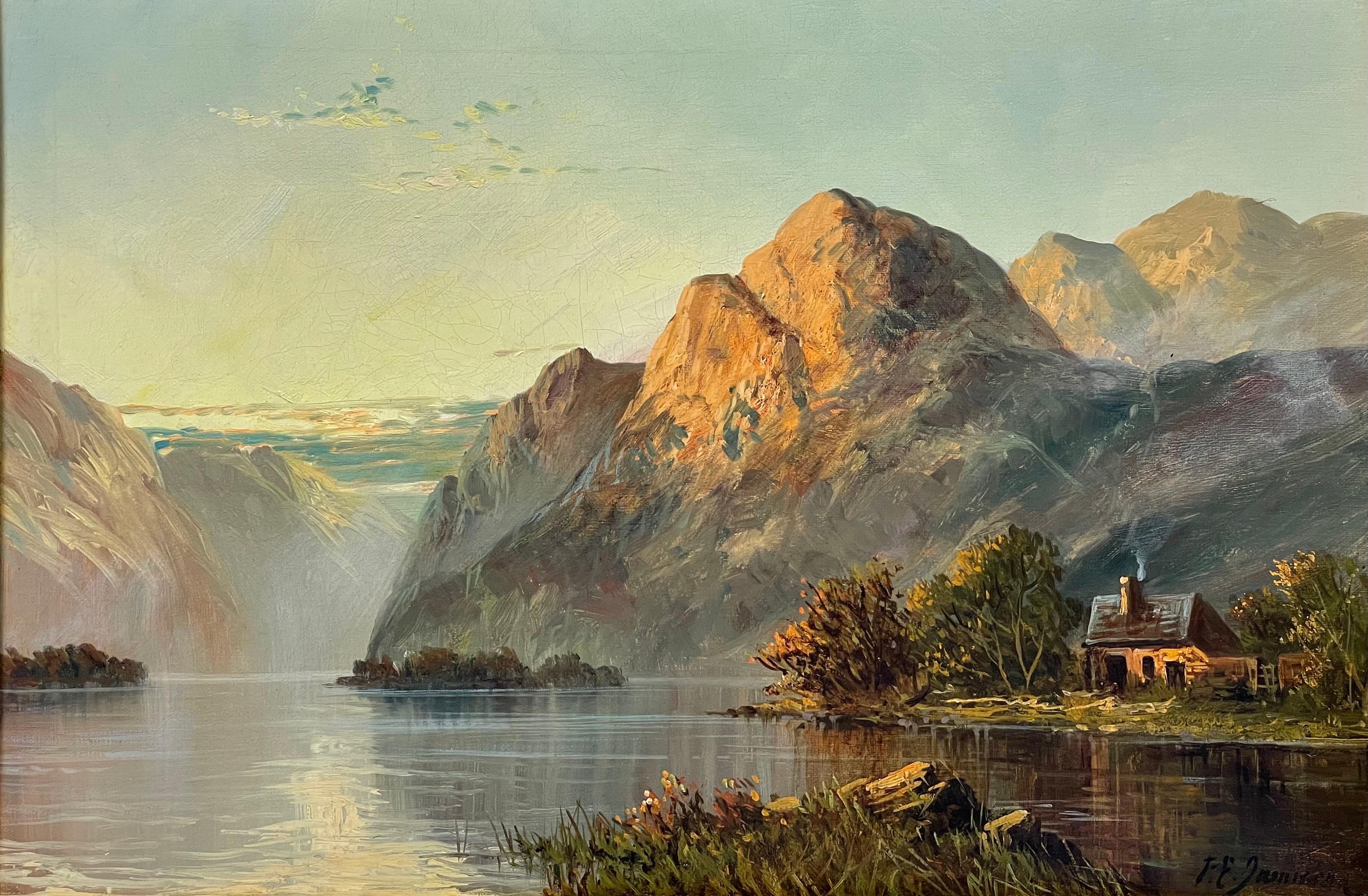 Antique Scottish Highland Loch Scene at Sunset with Cottage Golden Mountains