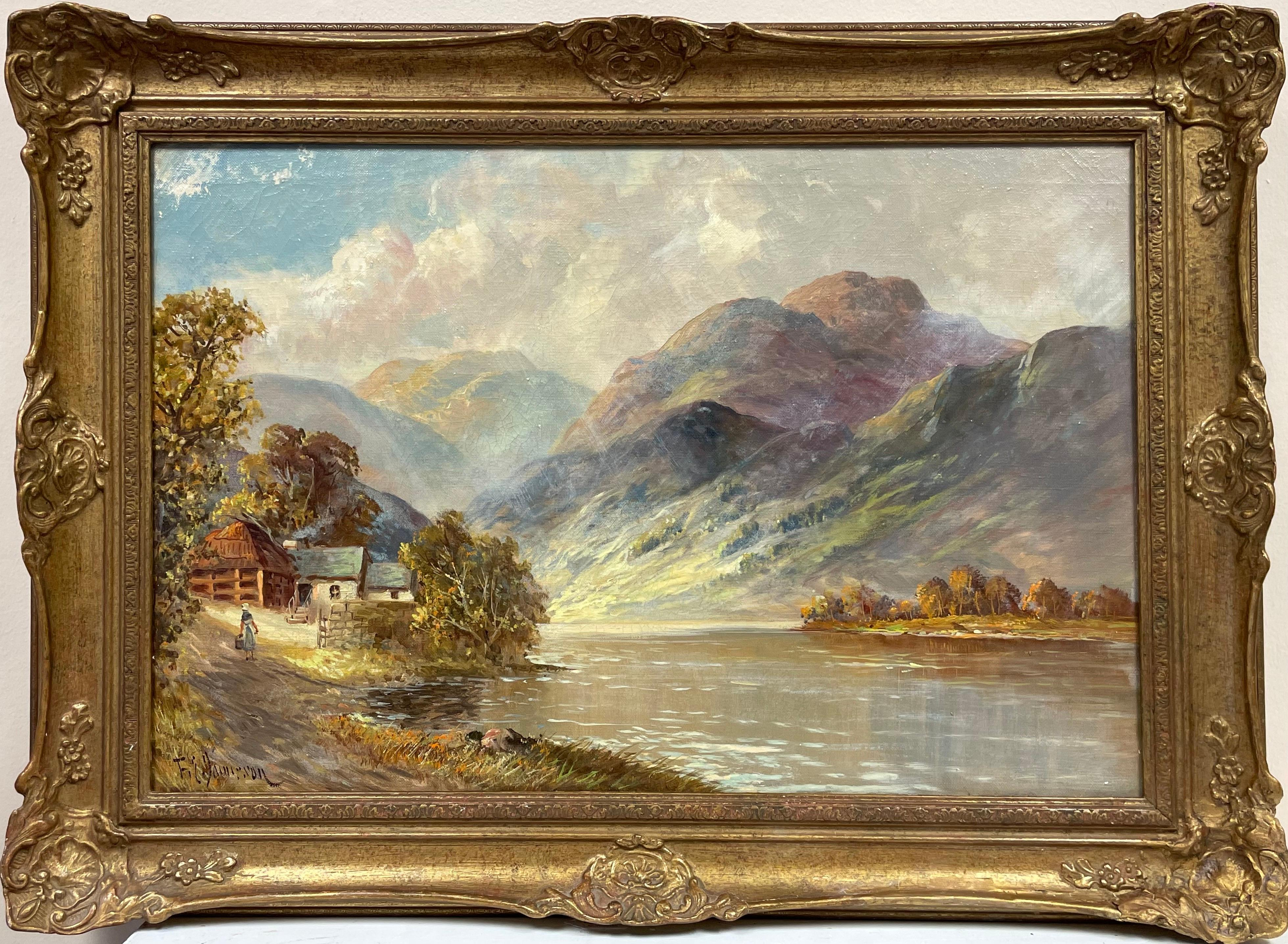 Antique Scottish Highlands Oil Painting Figure Walking to Cottage beside Loch