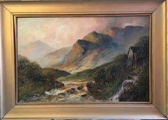 Antique Scottish Highlands Oil Painting Flowing River in Mountains, Framed