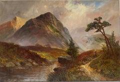 Antique Scottish Highlands Oil Painting Golden Light Landscape with Mountains