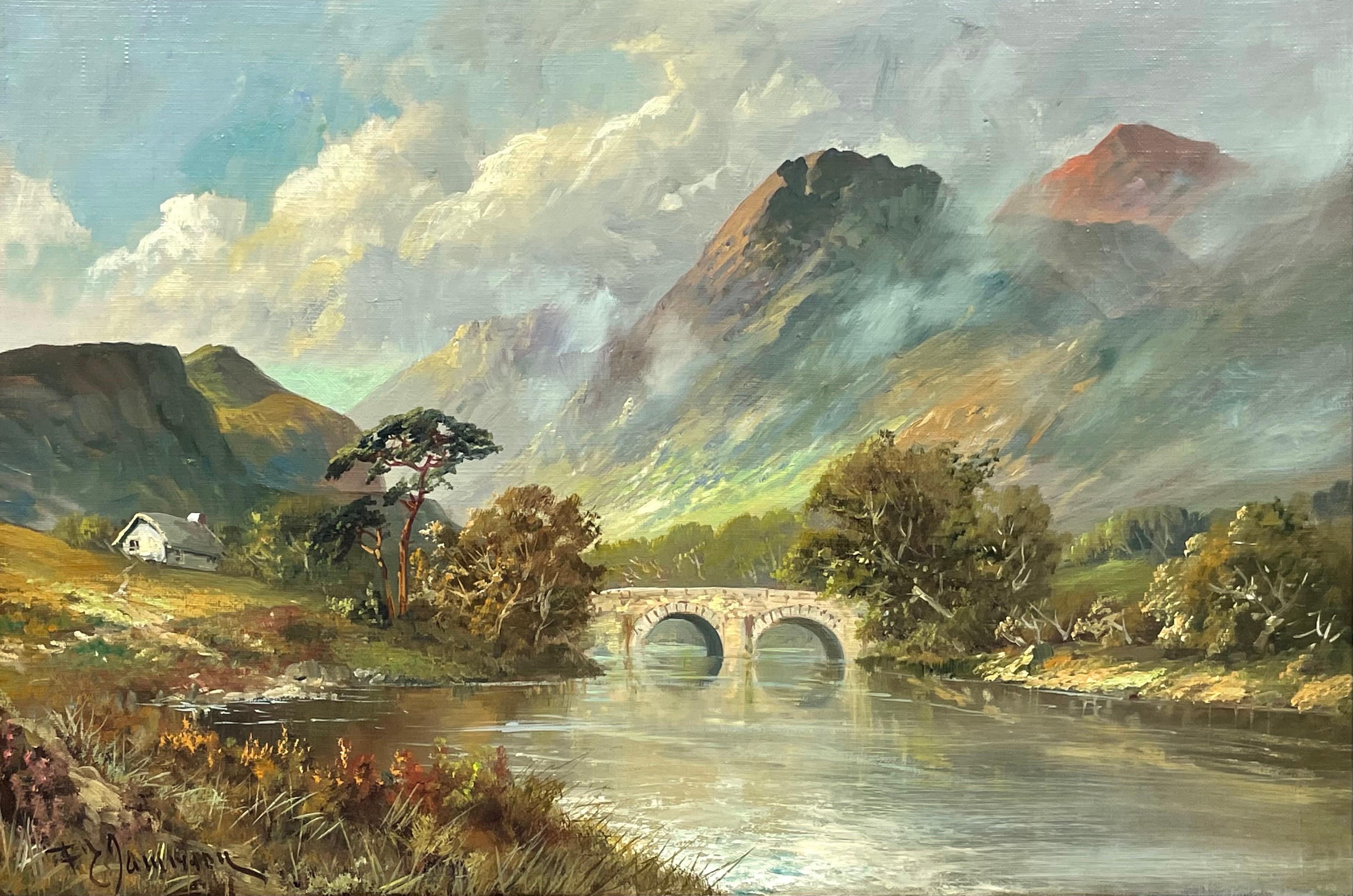 Antique Scottish Highlands Oil Painting River & Mountains Old Stone Bridge