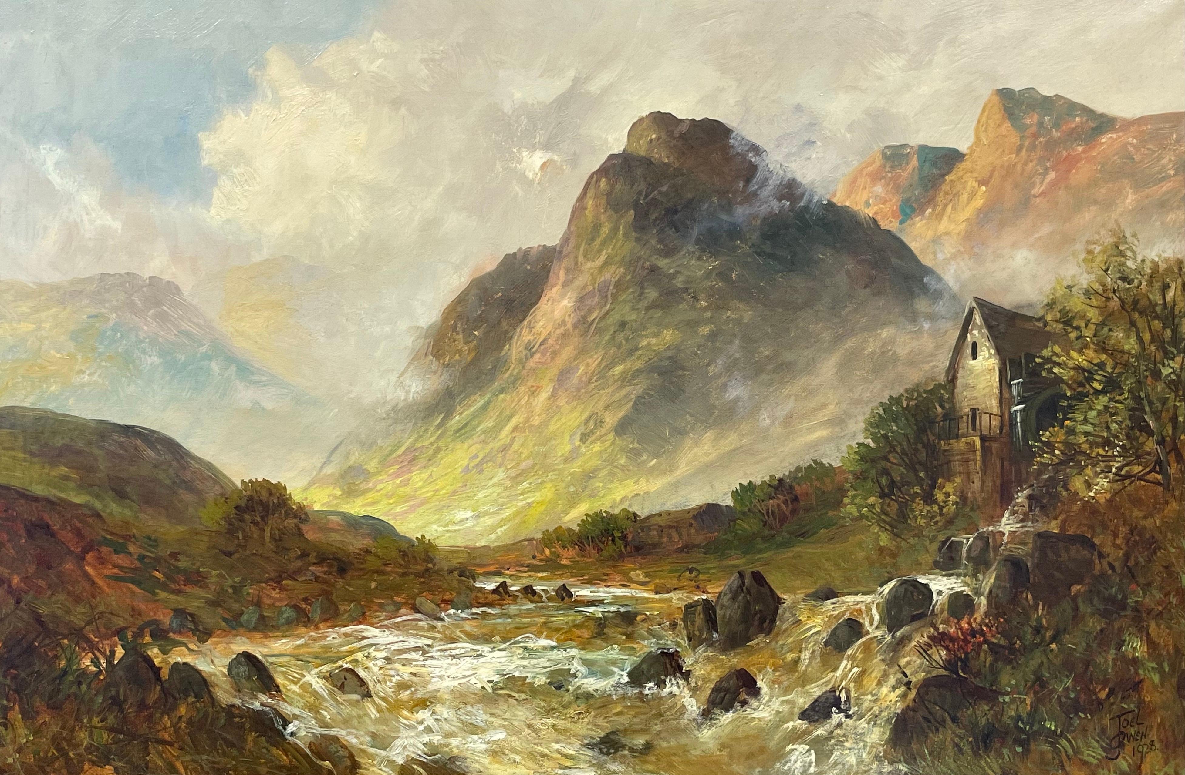 Antique Scottish Highlands Oil Painting Sunrise River Landscape with Mountains